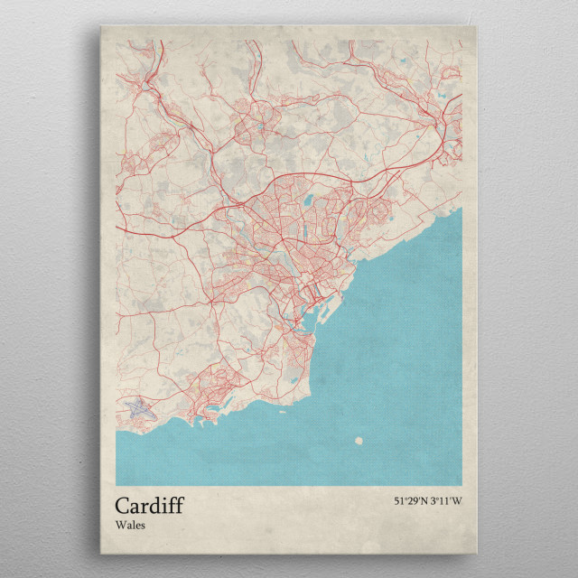 Cardiff - Wales metal poster