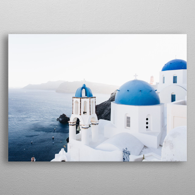 Ocean side view of Oia Santorini Greece. Mesmerizing shot of the sea.   metal poster