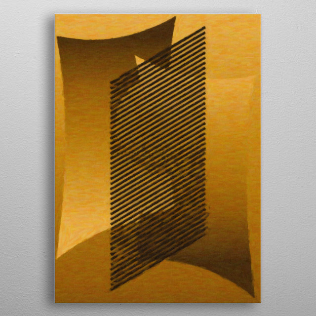 Geometric painting with diagonal lines overlapping the two forms metal poster