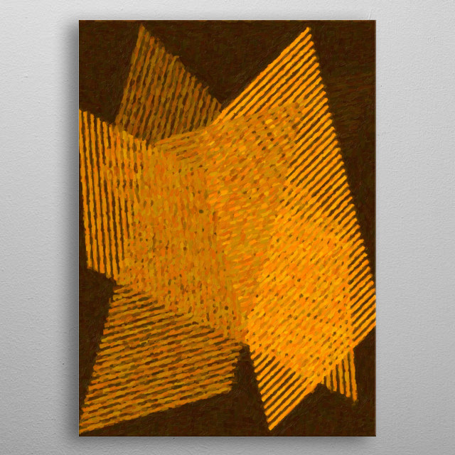 Geometric painting in shades of yellow with crossed lines metal poster