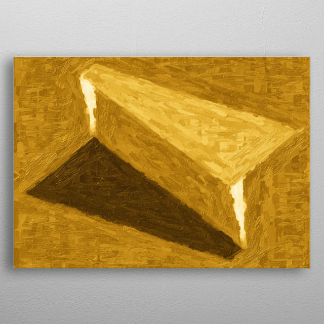 Formal geometric painting in shades of yellow and brown. Impossible architecture metal poster