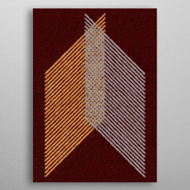 Geometric painting with crossed lines, in shades of brown and gray metal poster