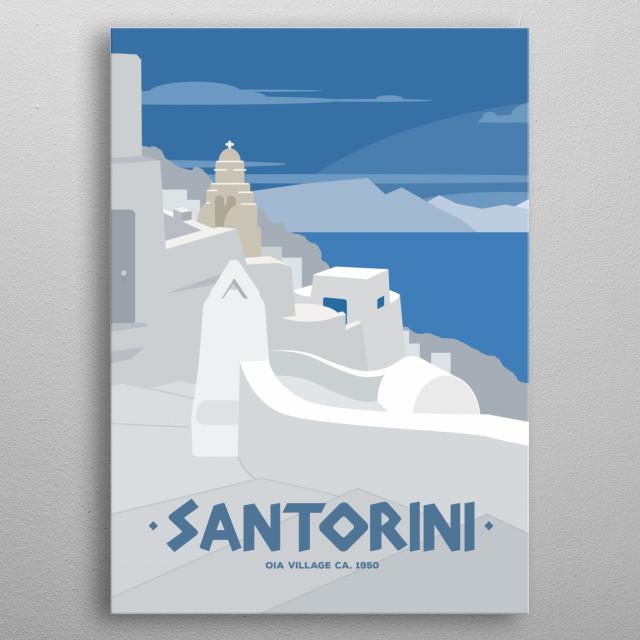 Santorini, Oia Village metal poster