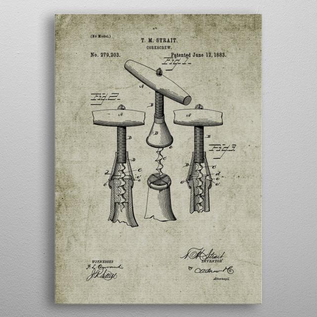 1883 Corkscrew - Patent Drawing metal poster