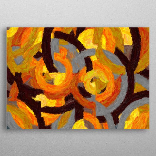 Painting with circles in shades of yellow and brown, honoring the French painter Delaunay metal poster