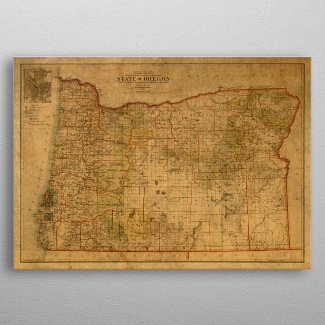 Vintage Oregon Map.Vintage Map Of Oregon By Design Turnpike Metal Posters Displate