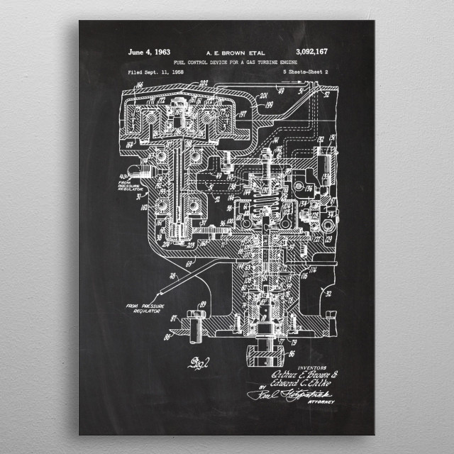 1958 Fuel Control Device - Patent Drawing metal poster