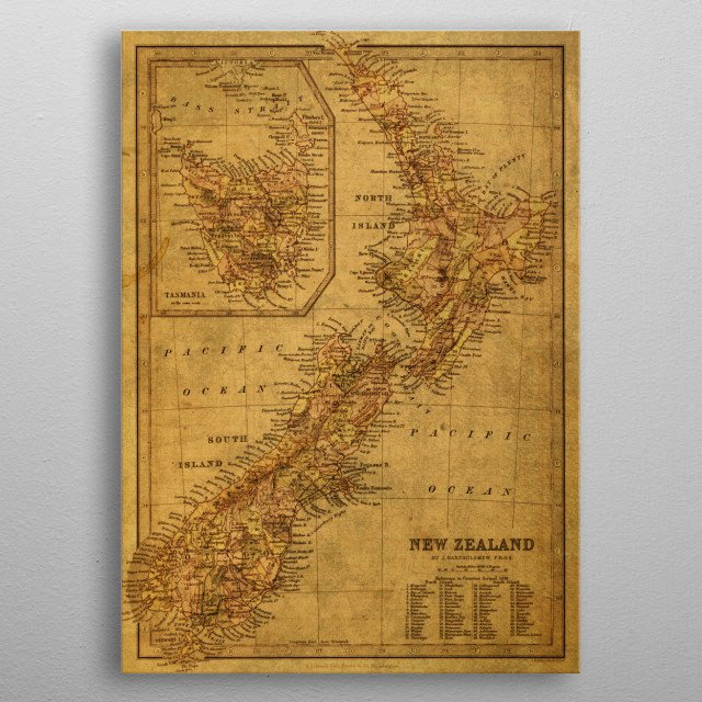 Vintage Map New Zealand metal poster