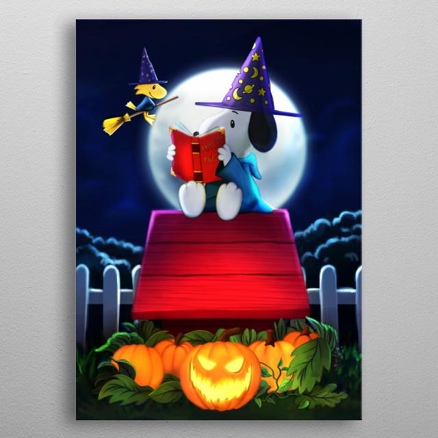 Snoopy on Halloween metal poster