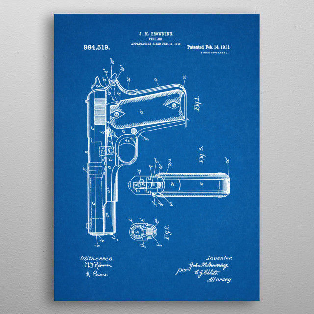 1911 Firearm- Patent Drawing metal poster