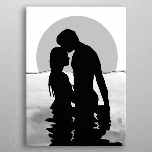 Lovers Black and White metal poster