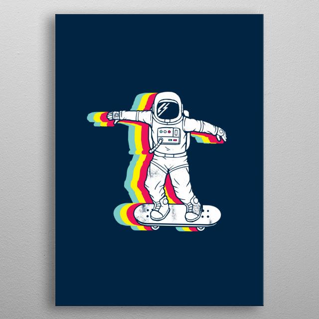 Spaceboarding metal poster