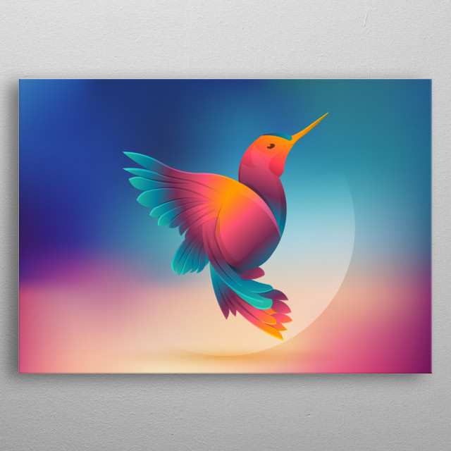 bird art on colorful background, fly into the sky  metal poster
