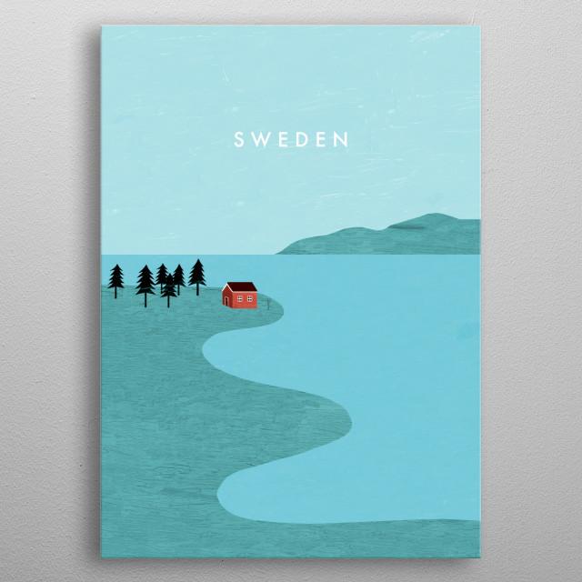 Illustration of Sweden metal poster