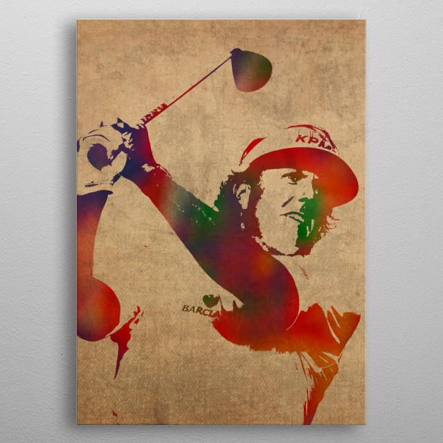 Phil Mickelson Watercolor  metal poster