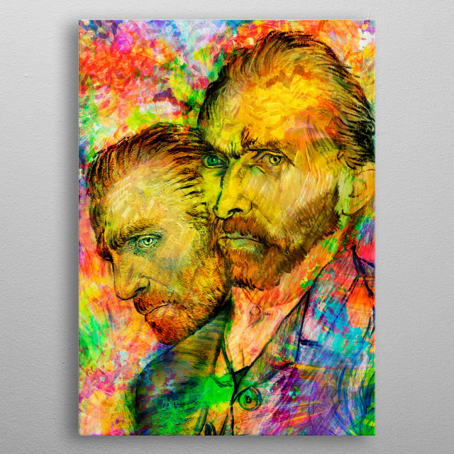 """Art inspired by the life and work of this great genius of the arts and painting. """"Vincent Van Gogh"""" metal poster"""