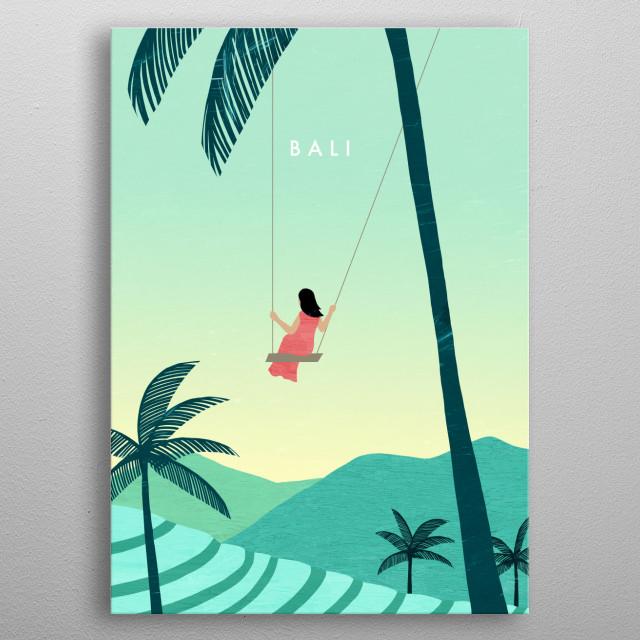 Illustration of Bali metal poster