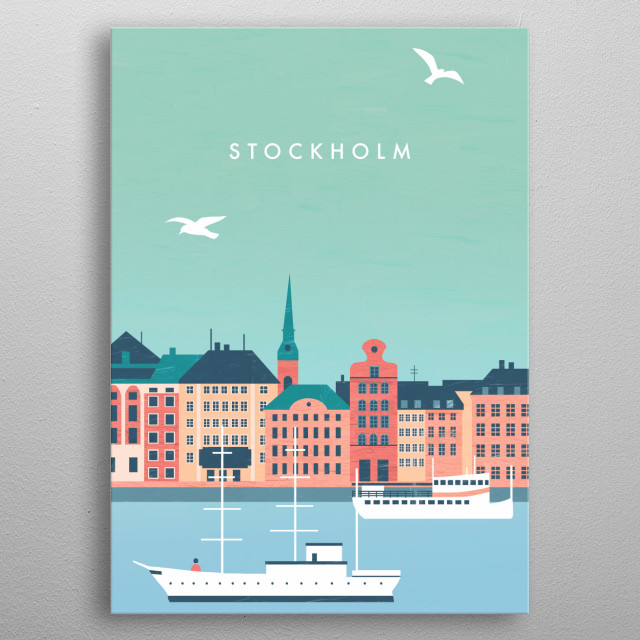 Illustration of Stockholm metal poster