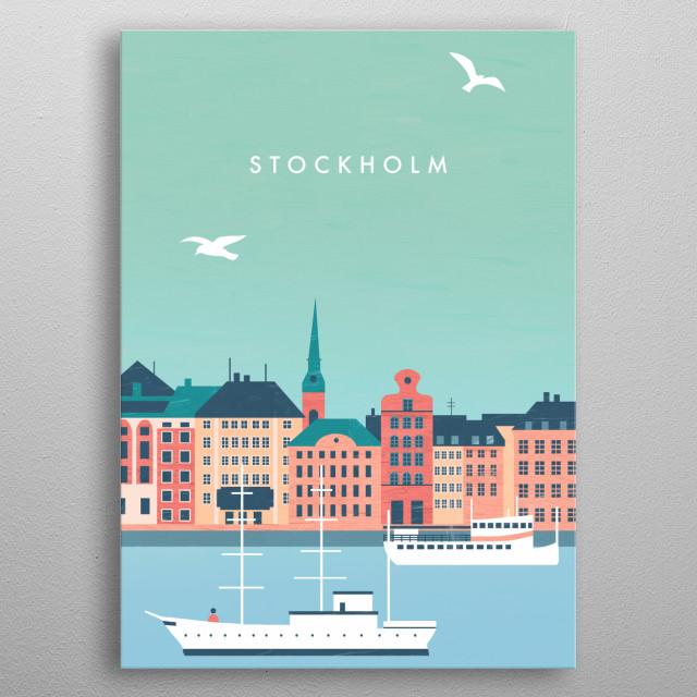 Illustration of Stockholm metal poster
