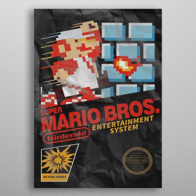 Mario Bros Game Cover distressed metal poster