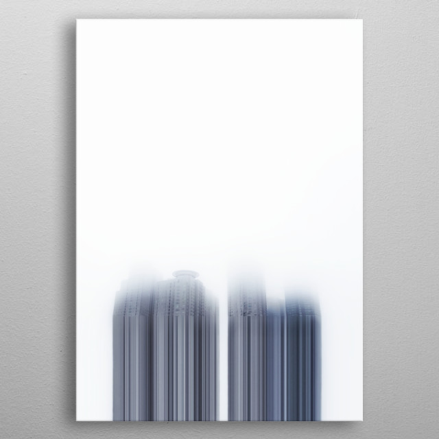 The picture shows 4 skyscrapers on a foggy day in Seoul. The main bodies of the skyscrapers are edited to be similar to be a bar-code,  metal poster