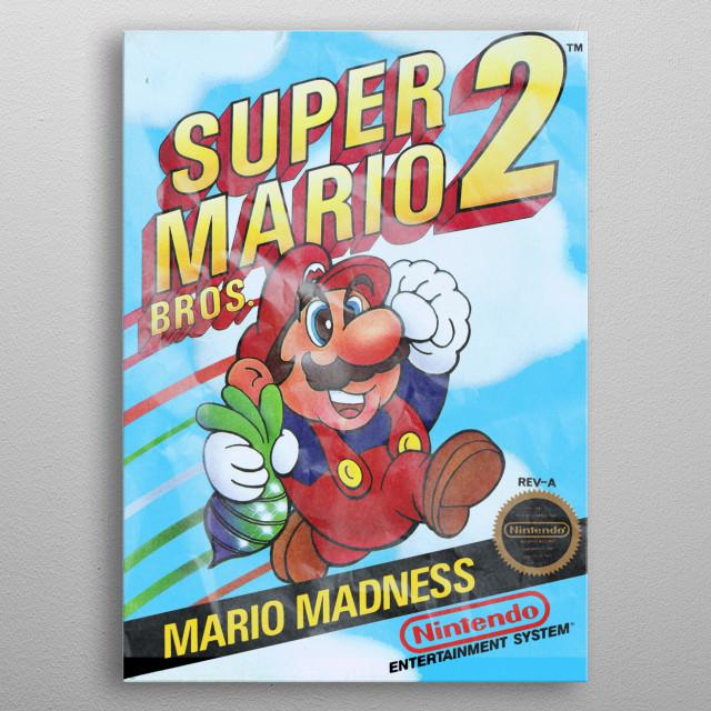Super Mario Bros 2 Game Cover distressed metal poster