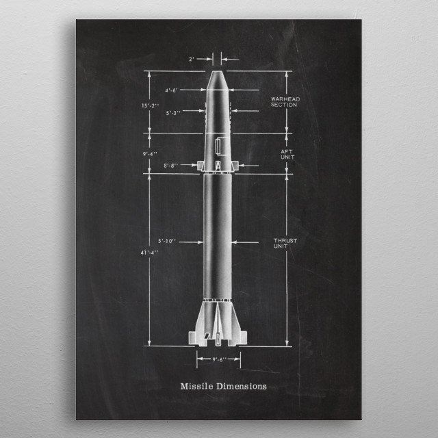 Missile Dimensions  - Patent Drawing metal poster