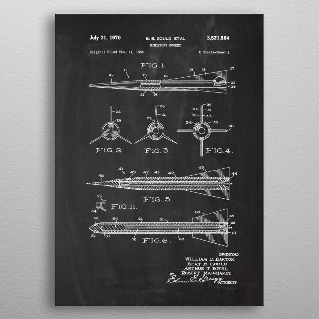 1965 Miniature Rocket - Patent Drawing metal poster