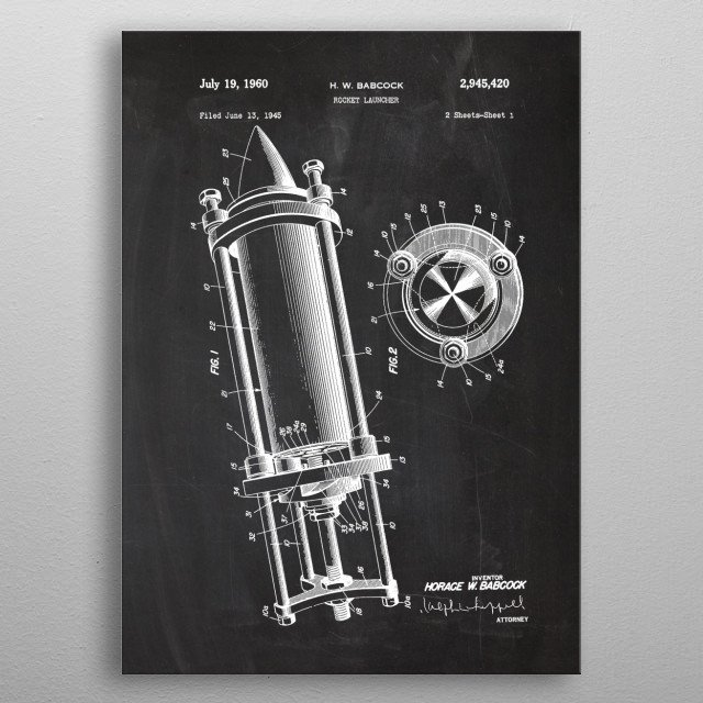 1945 Rocket Launcher - Patent Drawing metal poster