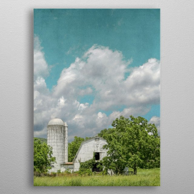 White Barn and Blue Sky metal poster