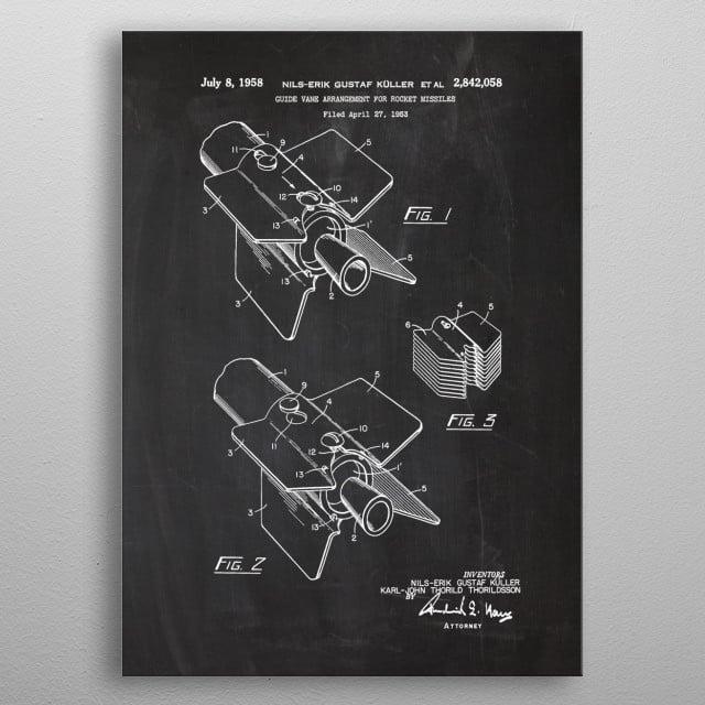1953 Rocket Missiles - Patent Drawing metal poster
