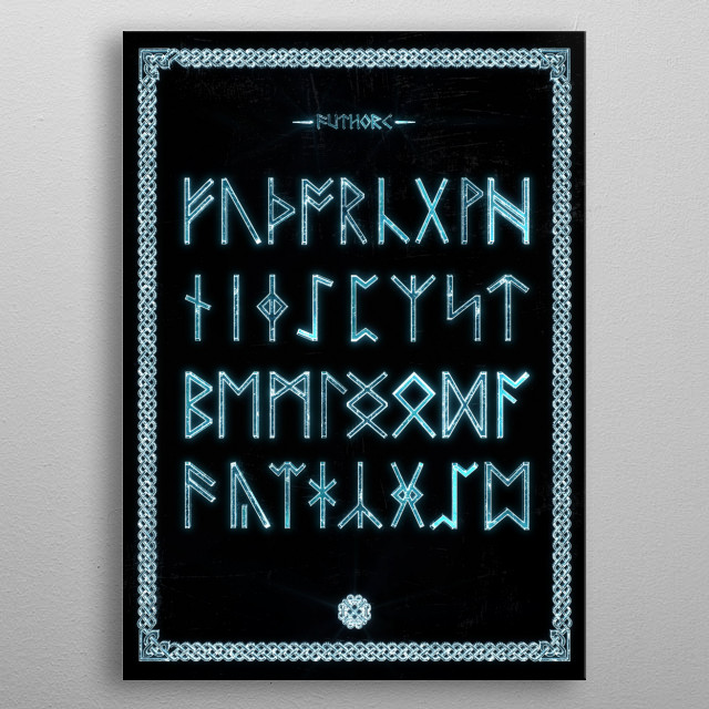 The complete Anglo-saxon runes. All the characters are known collectively as Futhorc. metal poster