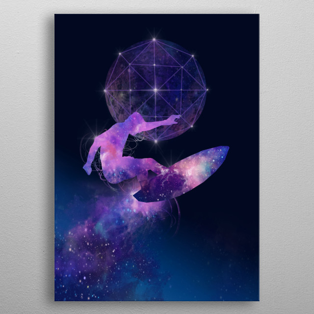 galaxy surfer metal poster