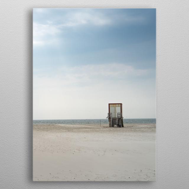 Lonely beach on Amrum, Germany. metal poster
