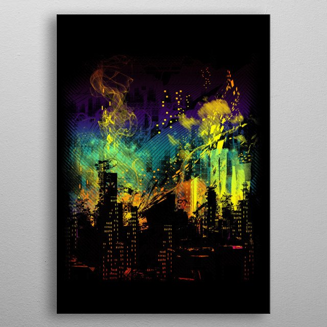 grid city metal poster