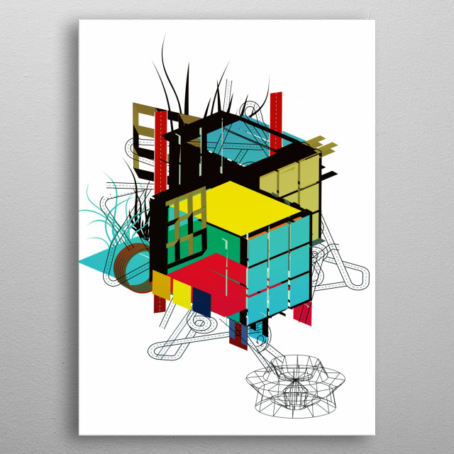 Complex building metal poster