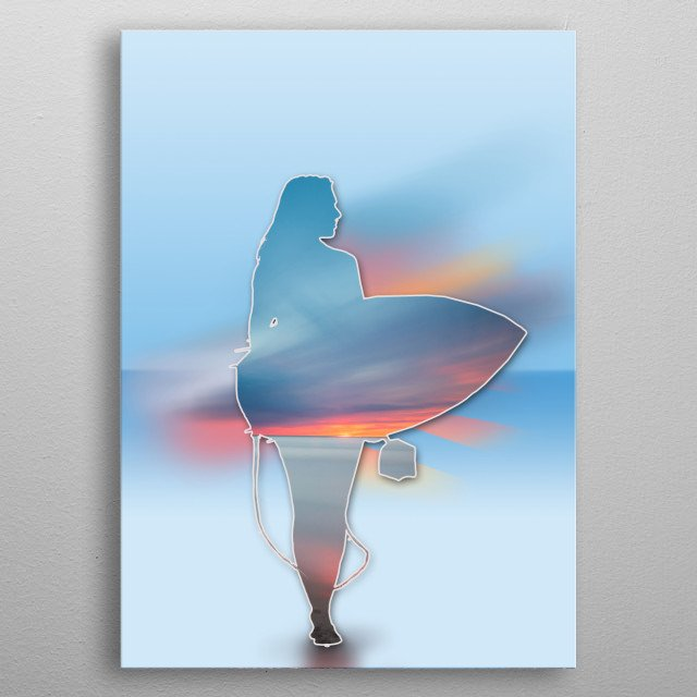 time for surfing 2 metal poster