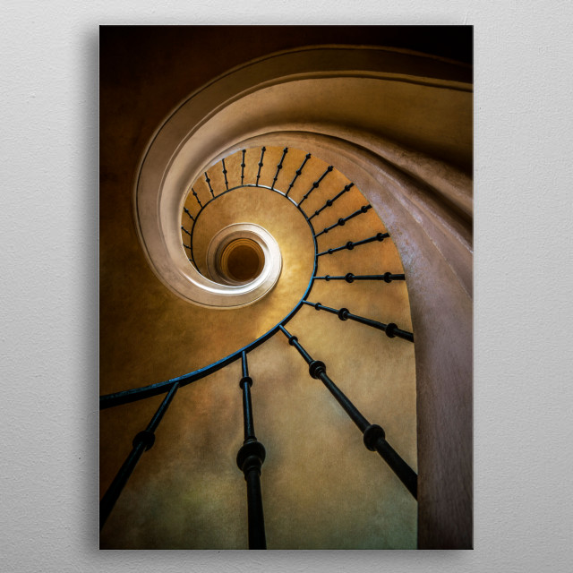 Golden spiral staircase metal poster