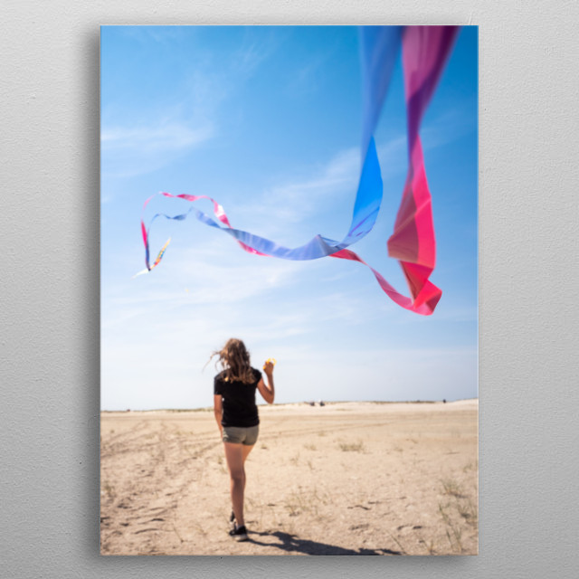 Amrum beach ist perfect for kiteflying metal poster