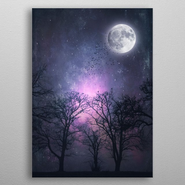 Glowing full moon over tree silhouettes with a flock of birds - manipulated photograph metal poster