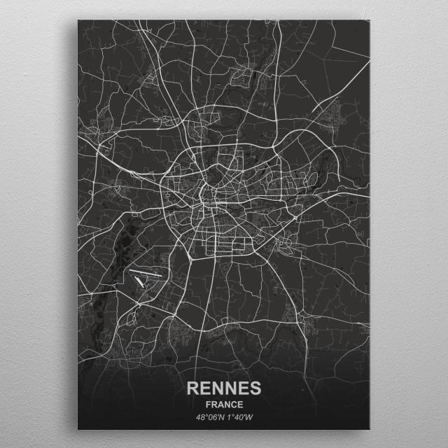 RENNES  FRANCE metal poster