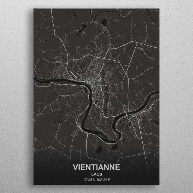 VIENTIANNE - LAOS metal poster