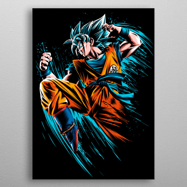 Speed Attack Blue metal poster