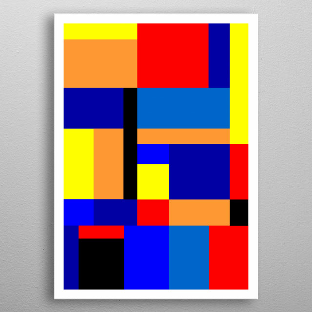 Modernist abstract geometric design inspired by the work of De Stihl metal poster