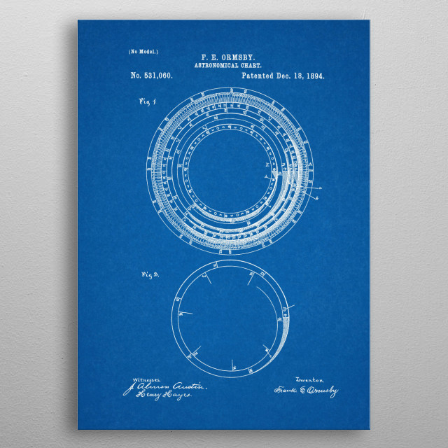 1894 Astronomical Chart - Patent Drawing metal poster