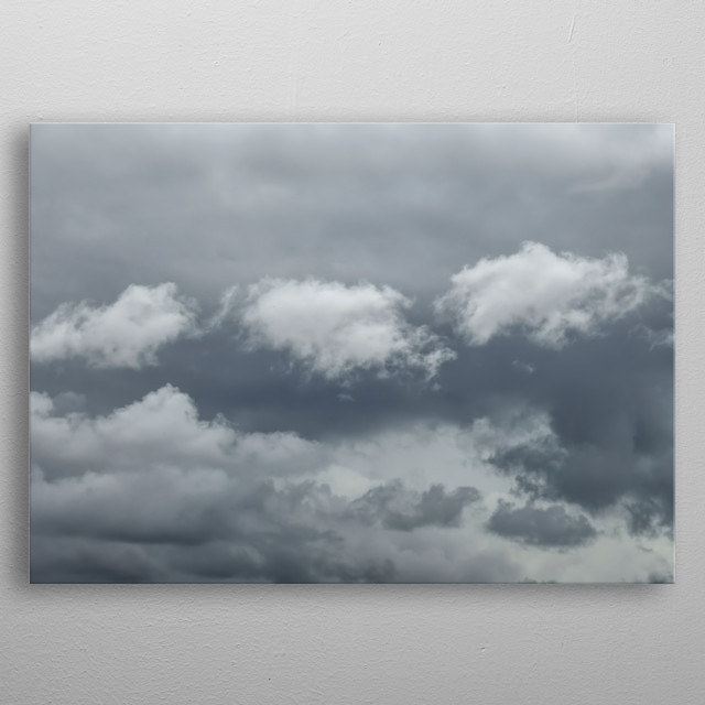 clouds with thunderstorm in the sky metal poster