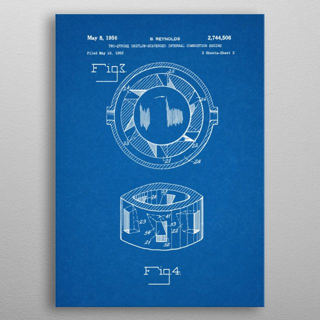 1953 Two Stroke Uniflow Scavenged Internal Combustion Engine - Patent Drawing metal poster