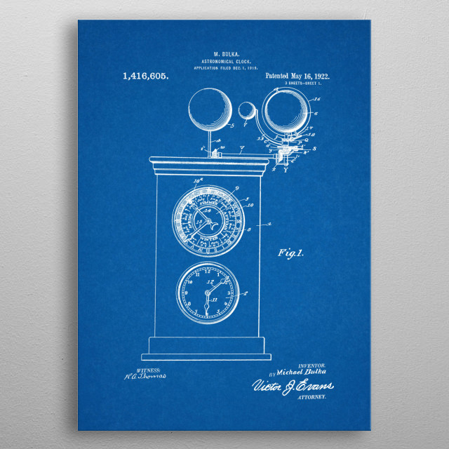 1919 Astronomical Clock - Patent Drawing metal poster
