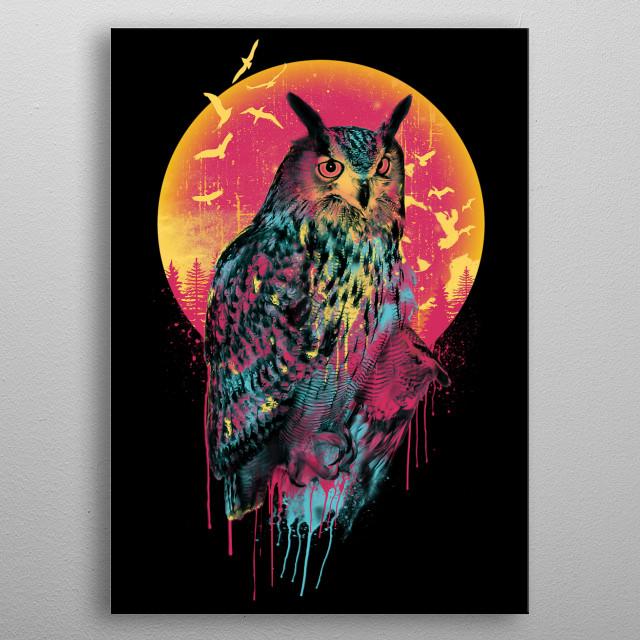 Owl Vivid metal poster