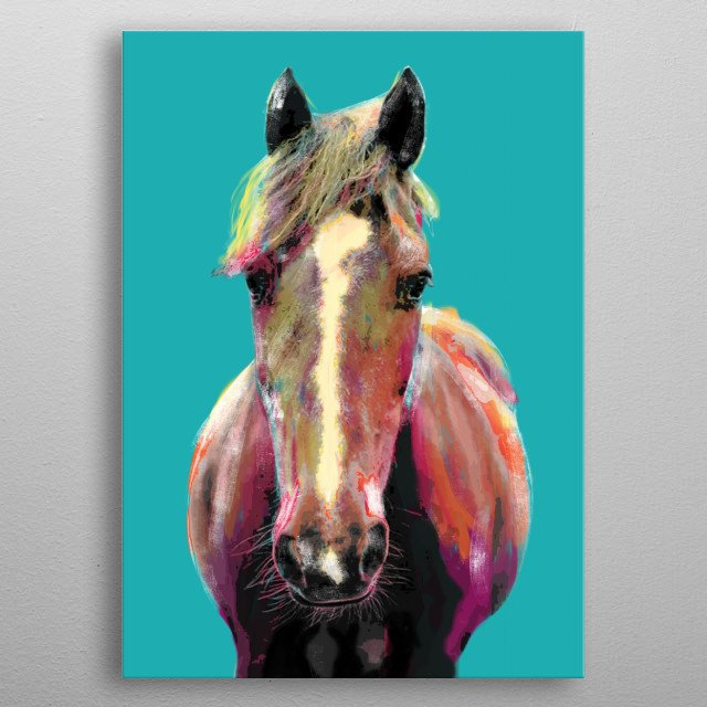 Colorful Horse metal poster
